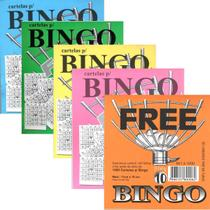 Kit c/ 5 Blocos Cartela Jogo Bingo Coloridos 100fls 11x10cm - Free