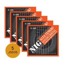 KIT C/ 5 Encordoamentos NIG N480 P/ Violão Nylon Clássico Tensão Alta - EC0240K5 - Nig strings