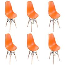 Kit c 6 Cadeiras Charles Eames Lara Base Madeira Fixa -