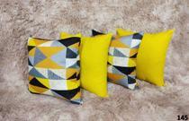 Kit C/ 6 Capas de  Almofadas Decorativas Geometrica Amarela 45X45 - Almofadas Belíssima