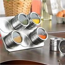 Kit C/6 Potes + Suporte Porta Condimento Tempero Pote Magnético Em Inox C/ Imã  Cozinha Geladeira - Relogios E Presentes