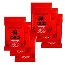 Kit c/ 6 Preservativo OLLA Lubrificado Sabor Morango 3 unidades -