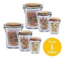 Kit C/ 6 Sacos Herméticos Zip Lock Ecobag Pote Sustentável 3d - Bono
