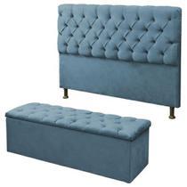Kit Cabeceira Alice+ Calçadeira Itália Queen 160 CM Suede Azul Turquesa- D A Decor -