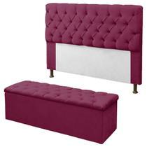Kit Cabeceira + Calçadeira Baú Mirage Solteiro 90cm Rosa Pink - DL Decor - Doce Lar Decorações