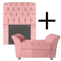 Kit Cabeceira + Calçadeira  Solteiro 90cm Suede Rose - Mobília Decor
