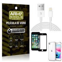 Kit Cabo Usb 2m Lightning iPhone SE 2020 + Capa Anti Impacto + Película Vidro 3D - Arymshield - Armyshield