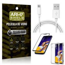 Kit Cabo Usb 2m Tipo C Zenfone 5Z ZS620KL + Capa Anti Impacto + Película Vidro 3D - Arymshield - Armyshield