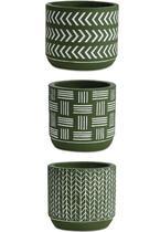 Kit cachepot oliva em cimento - 3 pcs - Mart