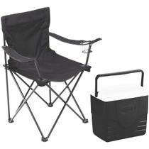 Kit Cadeira Aurora Dobrável com Porta-Copos Preta EchoLife + Caixa Térmica 15,1 L Coleman 16QT Preta -