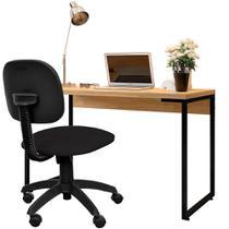 Kit Cadeira Escritório Economy Corano e Mesa Escrivaninha Industrial Soft Nature Fosco - Lyam Decor -