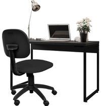 Kit Cadeira Escritório Economy Corano e Mesa Escrivaninha Industrial Soft Preto Fosco - Lyam Decor -