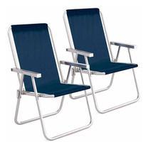 Kit cadeira praia mor alta conforto aluminio sannet azul 2 unidades -