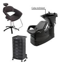 Kit Cadeira Primma + Lavatório Reclinável + Carrinho Dompel -