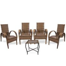 Kit cadeiras de área e mesa de centro varanda, edicula, jardim, piscina, fibra sintpetica - Vl Decor