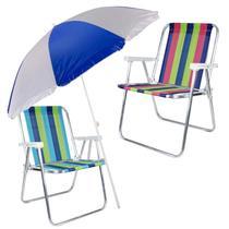 Kit Cadeiras de Praia e Piscina + Guarda Sol 1,8 Metros Scoat MOR - Extra