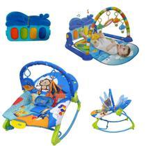 Kit Cadeirinha Balanço Descanso e Tapete Atividades Musical Azul - Color Baby