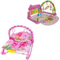 Kit Cadeirinha Balanço Descanso e Tapete Atividades Musical Rosa - Color Baby
