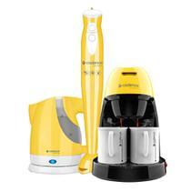 Kit Cadence Colors Amarelo - Cafeteira - Mixer - Chaleira -