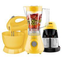 Kit Cadence Colors Amarelo - Liquidificador - Batedeira - Cafeteira -