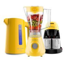 Kit Cadence Colors Amarelo - Liquidificador - Cafeteira - Chaleira -