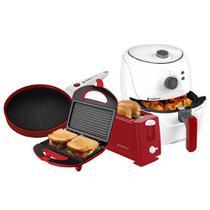 Kit Cadence Colors Vermelho e Branco Cook Fryer e Creps -