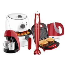Kit Cadence Colors Vermelho e Branco Cook Fryer -
