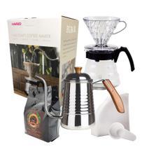 Kit Café Completo Novo Hario V60 HR-VCND-02B-EX 700ml  Chaleira FPRO INOX  Café Gourmet 250g e Filtro Hario 02 40 Uni -