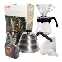 Kit Café Completo Novo Kit Hario 700ml e Filtro Hario 02 40 Uni + Chaleira Hario Buono 1L + Café Gourmet 250g -