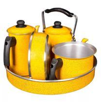 Kit Café Conjunto Laredu Chaleira Forma Frigideira Fervedor Bule 5 Pçs Alumínio Amarelo -
