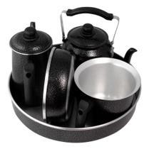 Kit Café Conjunto Laredu Chaleira Forma Frigideira Fervedor Bule 5 Pçs Alumínio Preto -