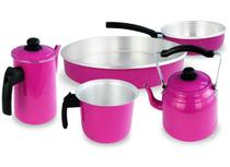 Kit Café Conjunto Laredu Chaleira Forma Frigideira Fervedor Bule 5 Pçs Alumínio Rosa -