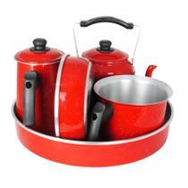 Kit Café Conjunto Laredu Chaleira Forma Frigideira Fervedor Bule 5 Pçs Alumínio Vermelho -