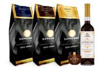 Kit Cafés Especiais Supremme Diamond em grãos 250gr + Gold 250gr + Tradicional 250gr + Licor + Geleia - Café Supremme