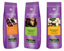 Kit cafés gourmet moído floresta 6 unidades 100 gramas -  Sabores Chocolate+Amêndoas+Baunilha -