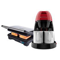 Kit Cafeteira Single Vermelha e Grill Inox Cadence -