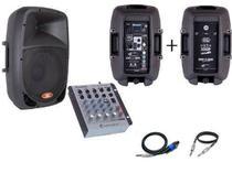 Kit Caixa Ativa Donner DR1010 + Passiva + Mesa de som Na402 -