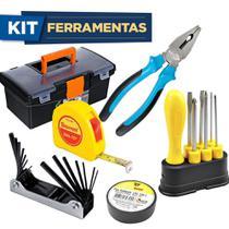 Kit Caixa de Ferramentas +Alicate Universal +Trena + Jogo Chave Allen + Jogo Chave de Fenda 6 pçs + Fita Isolante -