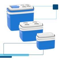 Kit caixa térmica 32 + 12 + 5 litros soprano azul -