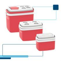 Kit caixa térmica 32 + 12 + 5 litros soprano vermelho -