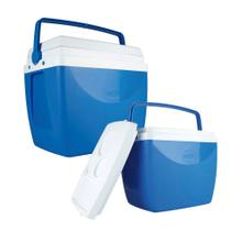 Kit Caixa Térmica 34 + 18 Litros Cooler Alça Porta Copos Bebidas - Mor -
