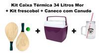 Kit Caixa Térmica 34 Litros + Caneco com Alça e Canudo 700ml + Kit Frescobol - MOR