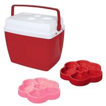 Kit Caixa Termica 34 Litros Vermelha + 2 Petisqueiras 23cm com 4 Divisorias  Mor -