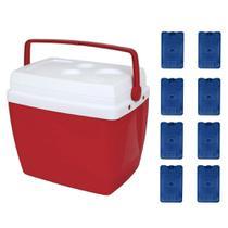 Kit Caixa Termica 34 Litros Vermelha + 8 Blocos de Gelo Artificial  Mor -