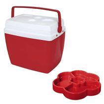 Kit Caixa Termica 34 Litros Vermelha + Petisqueira 23cm com 4 Divisorias  Mor -