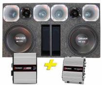 Kit Caixa Trio Automotiva 5100W Rms 2 Woofer 12 Taramps Top -
