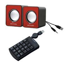Kit Caixas de som Estério e teclado numérico com fio retrátil para computador PC e Notebooks - Multilaser