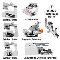 Kit Calcadores Overlock + Bainhas 10mm 19mm 25mm + Franzidor - Levolpe