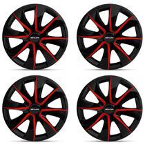 Kit Calota Esportiva Black Red Shutt Aro 13 Preta e Vermelha Plástico ABS Ótimo Acabamento Universal -