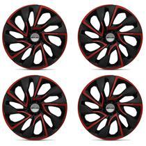 Kit Calota Esportiva DS4 Red Cup Shutt Aro 13 Preta Vermelha Plástico ABS Ótimo Acabamento Universal -